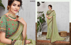 Olive Green color Silk Georgette Fabric Saree