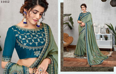 Blue color Silk Fabric Saree