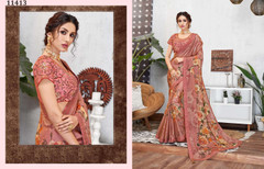 Onion color Silk Georgette Fabric Saree