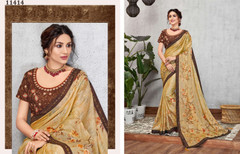 Yellow color Silk Georgette Fabric Saree