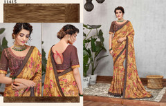 Brown color Silk Georgette Fabric Saree