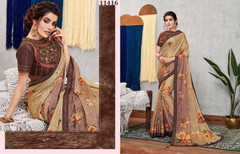 Beige and Mauve color Silk Georgette Fabric Saree