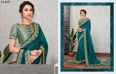 Blue color Silk Georgette Fabric Saree