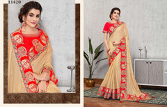 Golden color Silk Georgette Fabric Saree