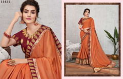 Brick Red color Silk Georgette Fabric Saree