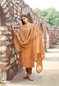 Brown color Muslin Fabric Suit