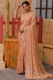 Light Peach color Pure Georgette Fabric Saree