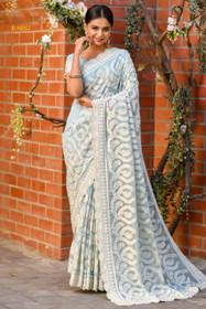 Powder Blue color Pure Georgette Fabric Saree