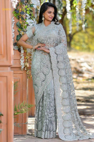 Grey color Net Fabric Saree