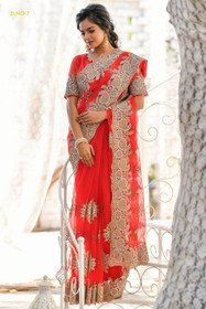 Red color Net Fabric Saree