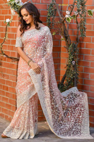 Peach color Net Fabric Saree