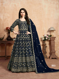 Royal Blue color Georgette Fabric Anarkali style Embroidered Party Wear Suit