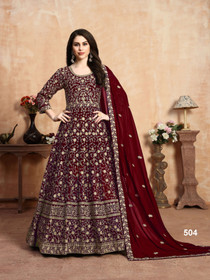 Maroon color Georgette Fabric Anarkali style Embroidered Party Wear Suit
