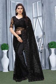 Black color Net Fabric Saree