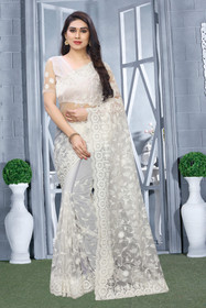 White color Net Fabric Saree