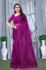 Purple color Net Fabric Saree