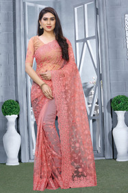 Pink color Net Fabric Saree