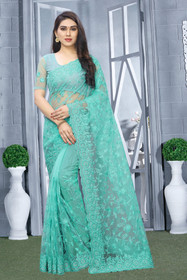 Blue color Net Fabric Saree