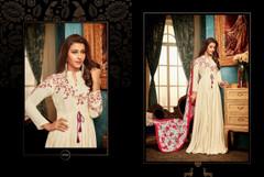 Cream color Ban Neck Design Full Sleeves Floor Length Heavy Muslin Fabric Gown