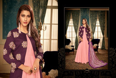 Pink color Full Sleeves Floor Length Heavy Muslin Fabric Gown