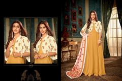 Brown color Full Sleeves Floor Length Heavy Muslin Fabric Gown
