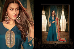 Blue color Full Sleeves Floor Length Heavy Muslin, Georgette and Satin Fabric Gown