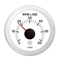"""VDO Marine 2-1\/16"""" (52mm) Viewline Tachometer - 0 to 6000 RPM - 8 to 32V - White Dial  Bezel [A2C59512348]"""