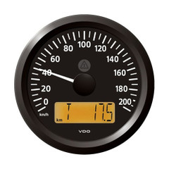 "VDO Marine 3-3\/8"" (85 mm) ViewLine Speedometer - 0 to 200 KMH - 12\/24V - Black Dial  Triangular Bezel [A2C59512370]"