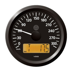 "VDO Marine 3-3\/8"" (85 mm) ViewLine Speedometer - 0 to 300 KMH - 12\/24V - Black Dial  Triangular Bezel [A2C59512371]"