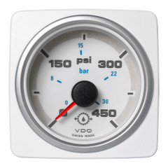 "VDO Marine 2-1\/16"" (52mm) AcquaLink Transmission Oil Pressure 450 PSI\/30 Bar - 12\/24V - White Dial  Bezel [A2C1338700001]"
