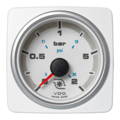"VDO Marine 2-1\/16"" (52mm) AcquaLink Boost Press Gauge 2 Bar\/30 PSI - 12\/24V - White Dial  Bezel [A2C1338720001]"