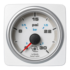 "VDO Marine 2-1\/16"" (52mm) AcquaLink Boost Press Gauge 30 PSI\/2 Bar - 12\/24V - White Dial  Bezel [A2C1338730001]"