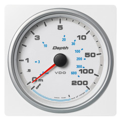 "VDO Marine 4-3\/8"" (110mm) AcquaLink Depth Gauge 200M\/660 - 12\/24V - White Dial  Bezel [A2C1338810001]"