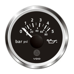 "VDO Marine 2-1\/16"" (52mm) ViewLine Oil Pressure Gauge - 5 Bar\/80 PSI - 8-32V - Black Dial  Chrome Triangular Bezel [A2C59514124]"