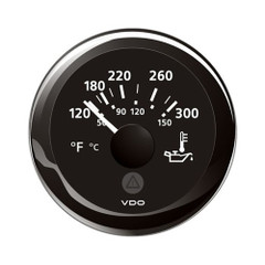 "VDO Marine 2-1\/16"" (52mm) ViewLine Temperature Gauge 120-300F - 8-32V - Black Dial  Bezel [A2C59514165]"
