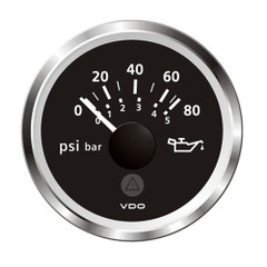 "VDO Marine 2-1\/16"" (52mm) ViewLine Oil Pressure Gauge 80 PSI\/5 Bar - 8-32V - Black Dial  Chrome Triangular Bezel [A2C59514129]"