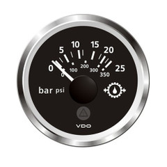 "VDO Marine 2-1\/16"" (52mm) ViewLine Transmission Oil Pressure 25 Bar\/350 PSI - 8-32V - Black Dial  Chrome Triangular Bezel [A2C59514137]"