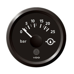 "VDO Marine 2-1\/16"" (52mm) ViewLine Transmission Oil Pressure 25 Bar\/350 PSI - 8-32V - Black Dial  Triangular Bezel [A2C59514139]"