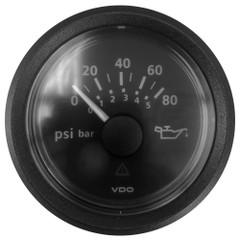 """VDO Marine 2-1\/16"""" (52mm) ViewLine Oil Pressure Gauge 0 to 80 PSI - 8-32V - Black Dial  Bezel [A2C5341300601]"""
