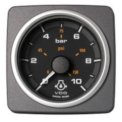 """VDO Marine 2-1\/16"""" (52mm) AcquaLink Engine Oil Pressure 10 Bar\/150 PSI - 12\/24V - Black Dial  Bezel [A2C59501935]"""