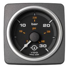 """VDO Marine 2-1\/16"""" (52mm) AcquaLink Transmission Oil Pressure 30 Bar\/450 PSI - 12\/24V - Black Dial  Bezel [A2C59501937]"""