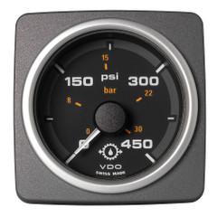 """VDO Marine 2-1\/16"""" (52mm) AcquaLink Transmission Oil Pressure 450 PSI\/30 Bar - 12\/24V - Black Dial  Bezel [A2C59501938]"""