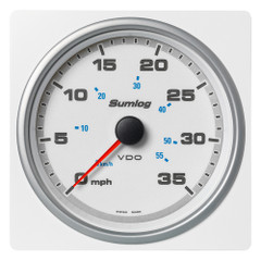 "VDO Marine 4-3\/8"" (110mm) AcquaLink Speed Through Water 35 MPH\/60 KMH - 12\/24V - White Dial  Bezel [A2C1338840001]"