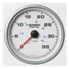 "VDO Marine 4-3\/8"" (110mm) AcquaLink Speed Over Ground 35 MPH\/55 KMH - 12\/24V - White Dial  Bezel [A2C1338880001]"