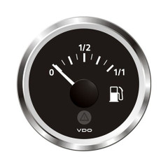 "VDO Marine 2-1\/16"" (52mm) ViewLine Fuel Level Gauge 0-1\/1 - 8-32V - 3-180 OHM - Black Dial  Chrome Triangular Bezel [A2C59514083]"