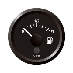 "VDO Marine 2-1\/16"" (52mm) ViewLine Fuel Level Gauge 0-1\/1 - 8-32V - 3-180 OHM - Black Dial  Black Triangular Bezel [A2C59514084]"