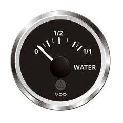 "VDO Marine 2-1\/16"" (52mm) ViewLine Fresh Water Resistive 0-1\/1 - 8-32V - 3-180 OHM - Black Dial  Chrome Triangular [A2C59514098]"