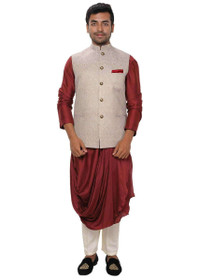 Maroon color Silk Fabric Mens Kurta Set