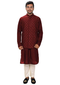 Maroon color Cotton Silk Fabric Mens Kurta Set