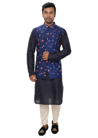 Blue color Cotton Silk Fabric Mens Kurta Set